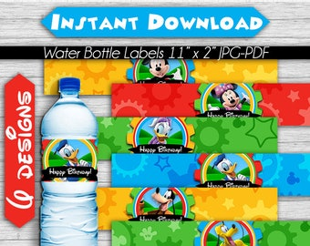 Mickey Mouse Clubhouse Water Bottle Labels, Instant Download, Pdf jpg