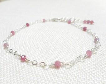 Pink Tourmaline Bracelet, Pink Dainty Bracelet, Sterling Silver Genuine Gemstone Jewelry, Wire Wrapped Jewelry, October Birthstone Bracelet