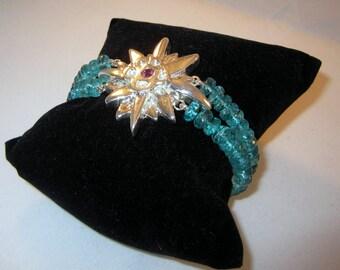 Aquilegia silver & sapphire bracelet