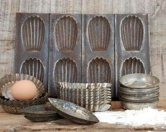 Cake molds, Baking molds, Aspiring chef gift, Tartlet tins,  Rustic kitchen decor, A set of 24 french pastry mould,