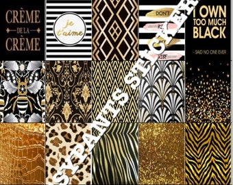 Black and Gold Themed Planner Stickers
