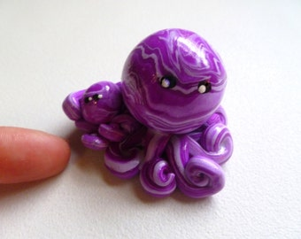 Mom and Child  Octopus Mini Marble Friend shown in Violet and Lavender Swirl Choose up to Four Children