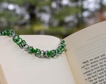 Green & Silver Byzantine Bracelet