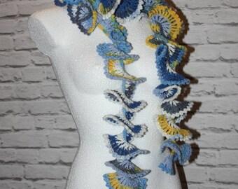 Crochet multicolor scarf,  ruffle scarf, curly scarf, crochet neckwarmer, elegant scarf, lace shawl, gift for girl, valentine's gift