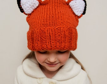 Fox hat, Kids Winter Hat, Knit Hat, Fox Ears hat, Animal hat, Beanie Hat, Teens Hat, Kids Outfit, Winter Clothing, Hat with Ears, Cute Hat
