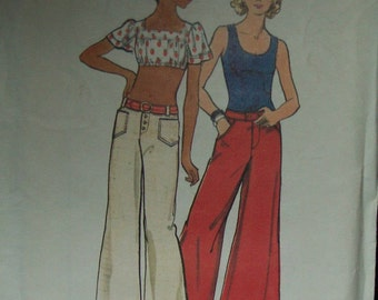 1970's Pattern Butterick 3065 Low Rise Jeans Flared