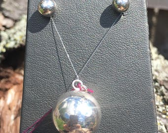 Sphere Pendant and Earring Set