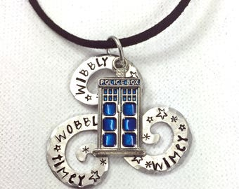 Dr Who Necklace, Wibbly Wobbly Timey Wimey Quote, Blue Police Call Box Charm, Geekery, Hand Stamped Dr Who Jewelry, Whovian Gift,