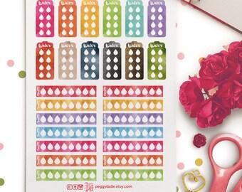 Watercolor Hydrate water tracker Planner Stickers | Erin Condren| Kikki K | Filofax | Water Bottle | PD024