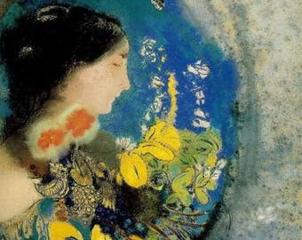 Hand-painted ophelia - Odilon Redon Oil Painting Reproduction Romantic girl portrait For Bedroom Decoration, Girl Room Decoration or gift