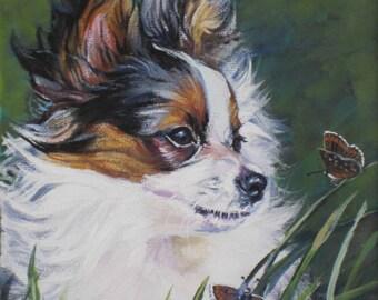 Papillon Dog art CANVAS print of LA Shepard painting 12x16 portrait