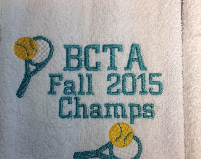 Tennis, Personalized Tennis towel, or any sport, spots team, coach gift, in any colors with  custom embroidery,