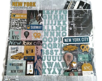 New York Scrapbook Page Kit 12x12 - Big Apple, Times Square, Statue of Liberty Papers