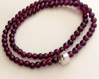 Red Garnet stretch double wrap Bracelet - Sterling Silver or Gold Fill bead - January Birthstone gift