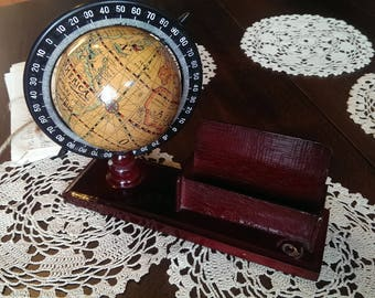 Vintage Small World Globe, Wooden Business Card Holder, Vintage Globe Map, Home Office Decor, Gift Idea