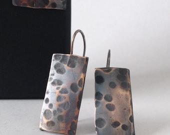 Hammered Bronze Earrings - Modern Minimal Bronze Jewelry - 19th Anniversary Gift - Mother's Day Gift - Bronze Anniversary