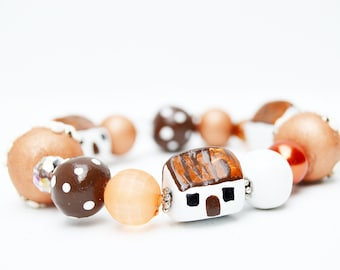 Gifts for Her, French Country Cottage Beads,Tiny House Polymer Clay Beaded Bracelet,stretch bracelet,Clay Applique Beads,Fimo Jewelry
