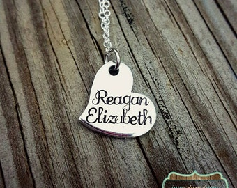 Personalized Name Heart Necklace - Dainty Necklace - Custom Made - Daughter - Heart Necklace - Tilted Heart Necklace - Mother's Necklace