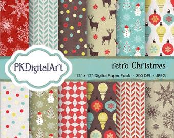 """Retro Christmas Digital Paper - """"Retro Christmas""""  Scrapbook Paper Backgrounds Xmas Crafting Supplies"""