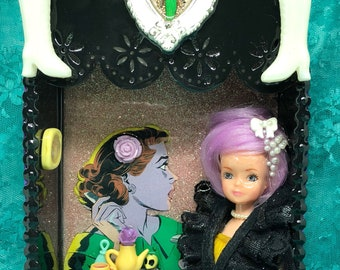 Lady cave handmade diorama shadow box with doll and miniatures