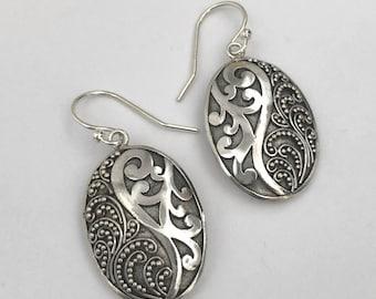 Balinese Oval Earrings Sterling Silver Balinese Bali Jewelry