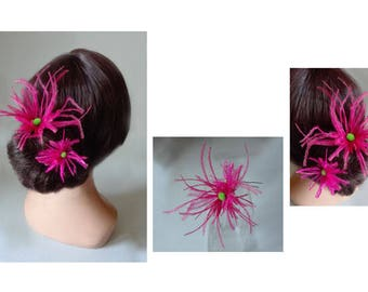 hair pin feather pink ostrich Federschmuck bun wedding ceremony hair stick