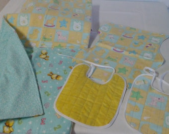 Handmade Baby Layette Gift Set with Receiving Blanket, Burp Cloth, and two Bibs