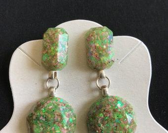 Green and Orange Glitter Resin Dangle Earrings Handmade One of a Kind