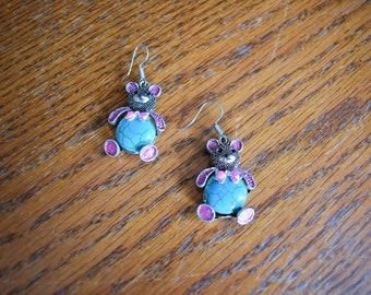 Antique Silver Pink Bear Earrings, Pink Bear Earrings, Silver Bear Earrings, Bear Lovers Gift, Nature Lovers Gift, Dangle Bear Earrings