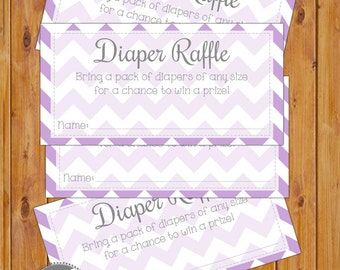 Diaper Raffle Card for Baby Shower Lilac Chevron Invitation Inserts Printable PDF--Instant Download