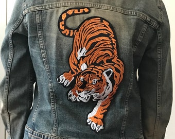 Upcycled Divided Denim Jacket with Tiger backpatch (M)