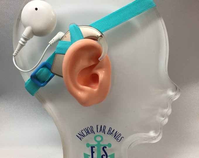 Light Blue - Cochlear Implant Heaband - Adjustable Length - Silicone Grip Sleeve - Non Slip Grip  - Unilateral, Bilateral, Bimodal options