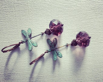 Brass Verdigris Dragonfly Earrings