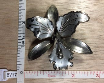 Vintage Silver Toned Orchid Pin Brooch Used