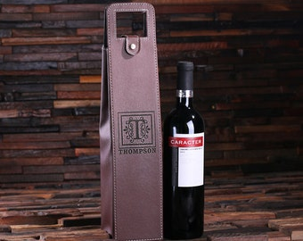 Personalized Engraved Monogrammed Leather Wine Bottle Holder Pouch His & Her Wedding Gift, House Warming Gift or Holiday Gifts (024273)