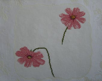 Embroidered pink flowers