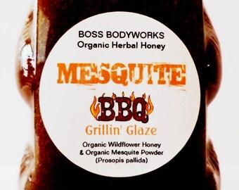 Organic MESQUITE HONEY BBQ Superfood Grilling Glaze - 12oz - Prosopis pallida Herbal Infused Gourmet honey