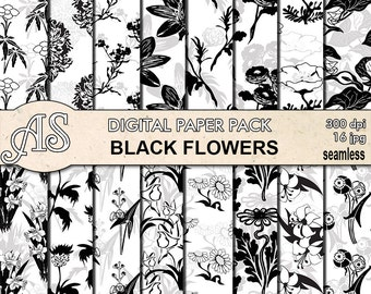 Digital Black Flowers Seamless Paper Pack, 16 printable Digital Scrapbooking papers, Floral Collage, Decoupage, Instant Download, set 96