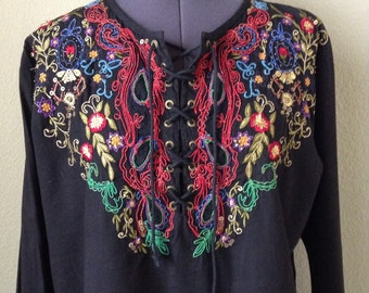 Vintage 80s Indian cotton embroidered blouse ~ bohemian ~ hippie ~ ethnic