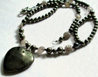 Womens Pyrite Beaded Necklace With Pyrite Heart Pendant 21 Inches