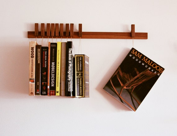 Wood Book Rack ~ Custom made wooden book rack bookshelf in walnut also