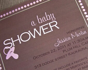 Simple and Beautiful polka dot baby shower invitation - DIY - PRINT YOURSELF or purchase prints