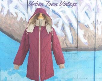Vintage Cranberry/Beige Reversible Hooded Puffy Winter Coat (Size Small/Medium)