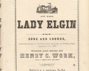 AMERICAN SHIP DISASTER Lost on the Lady Elgin Original Sheet Music