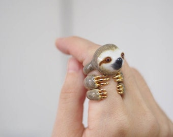 Sloth Ring Set-grey sloth ring,animal jewellery,three pieces ring collection, adorable animal ring,lovely animal ring