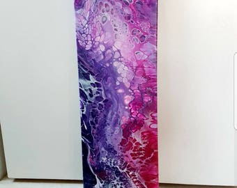Acrylic painting abstract on stretcher frame, fluid style, 60x20 cm, unique, original