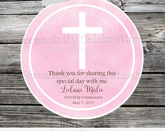 First Communion, Baptism, Confirmation, Religious, Set of 12 Personalized Favor Tags, Stickers, Thank You Tag, Pink Watercolor, Cross, Bible