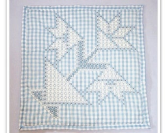 Sale was 22.00 now 18.00  Blue Gingham Wall Hanging with chicken scratch embroidery, gingham decor, embroidered wall hanging