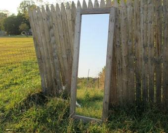 Full Length Framed Mirror. Distressed White Framed Mirror.