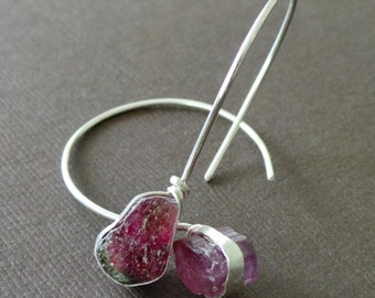 Raw Watermelon Tourmaline Sterling Earrings Sculptural Primitive Modern